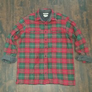 L.L. BEAN plaid fleece lined flannel shirt L Tall